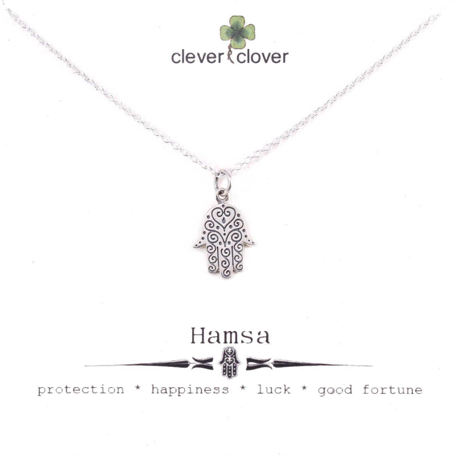 SSN1667 Sterling Silver Hamsa With Swirls Necklace