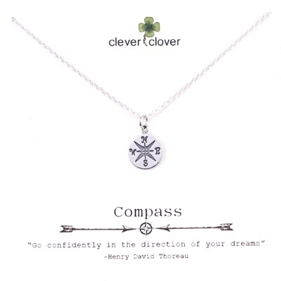 SSN832 Sterling Silver Small Compass Necklace