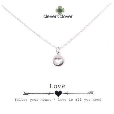 SSN1366 Sterling Silver Open Heart Circle Necklace