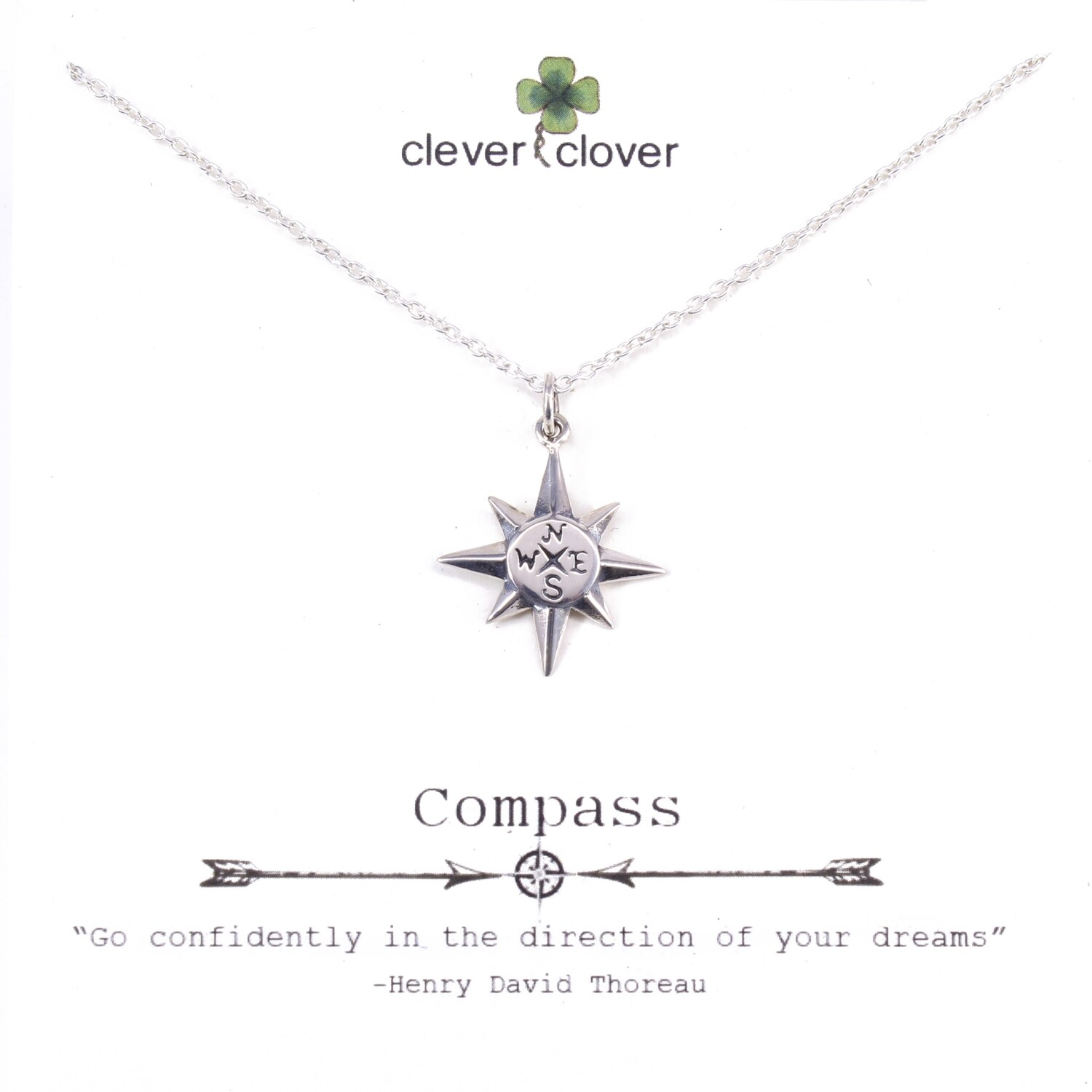 SSN1610 Sterling Silver North Star Compass Necklace