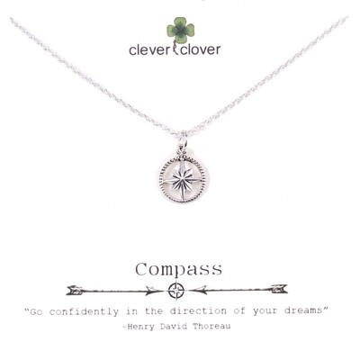SSN1367 Sterling Silver Open Compass Necklace