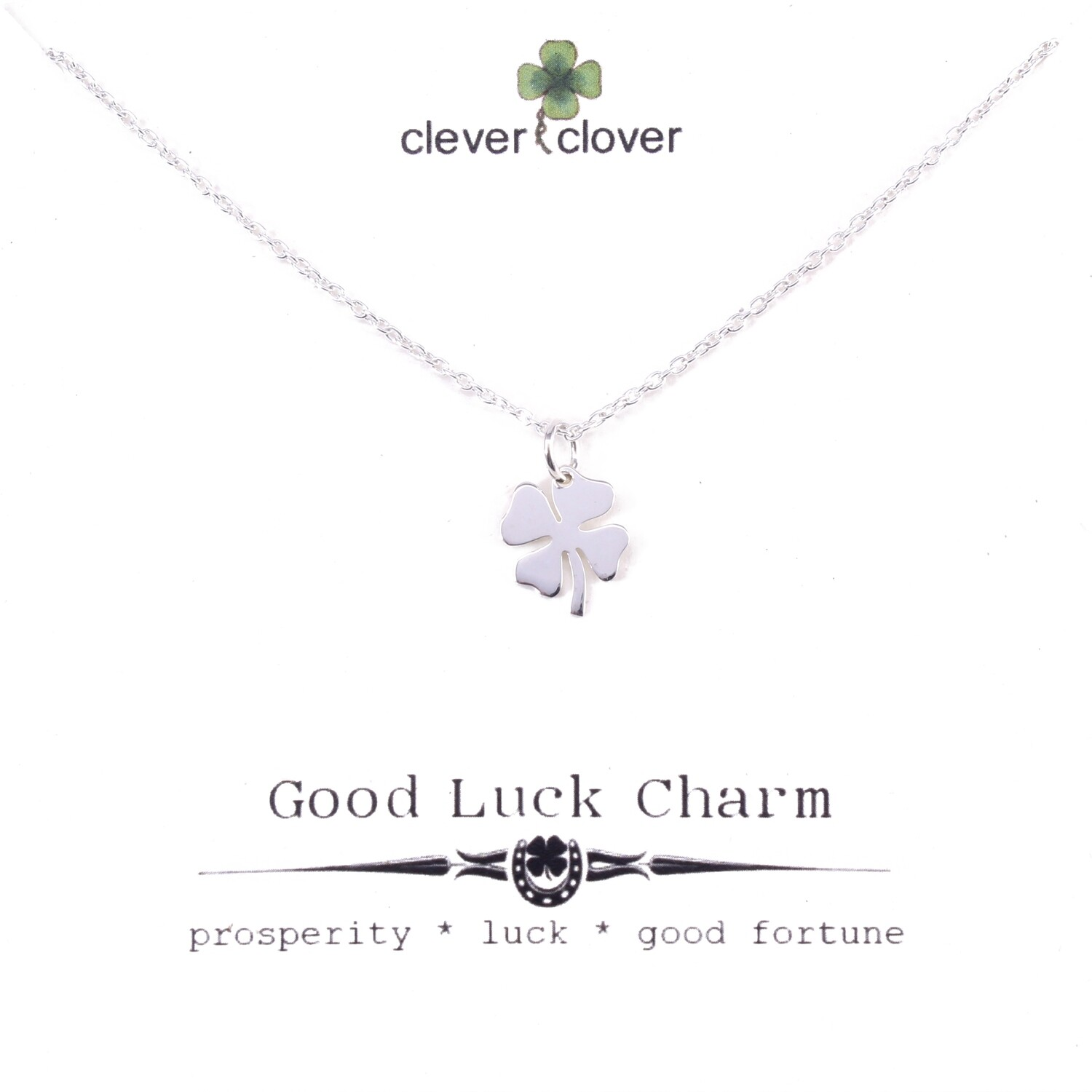 SSN979 Sterling Silver Small Four Leaf Clover Necklace