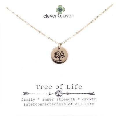 CCN731 Bronze Small Tree of Life Circle Necklace