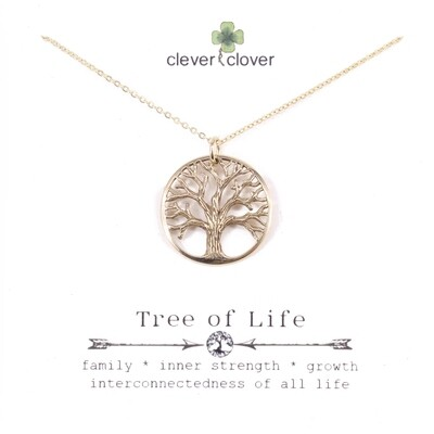 CCN734 Bronze Large Textured Tree of Life Necklace