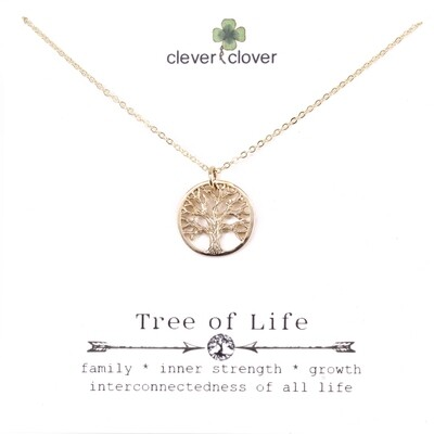 CCN867 Bronze Small Textured Tree of Life Necklace