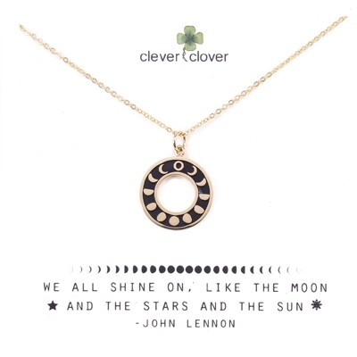 CCN1753 Bronze Phases of the Moon Circle Necklace