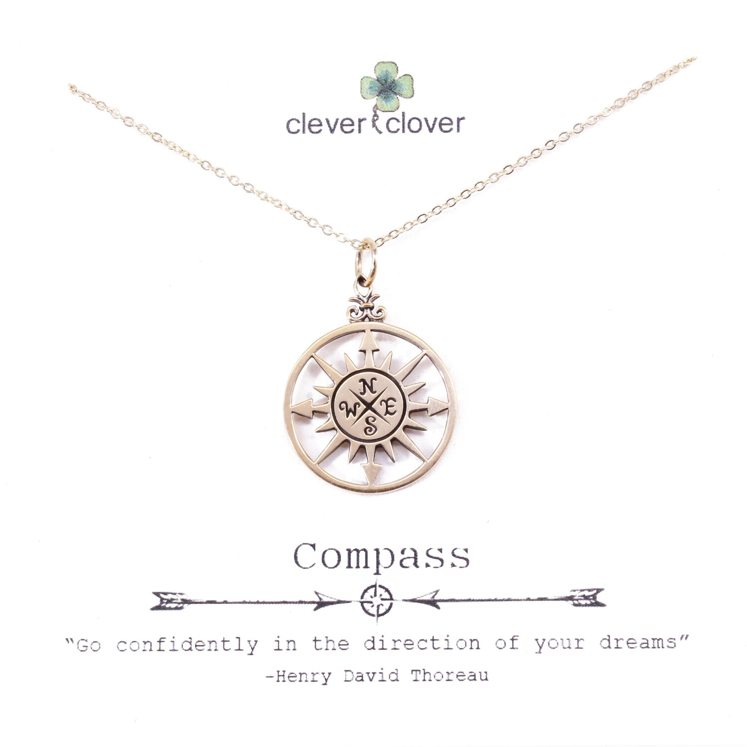 CCN749 Bronze Large Compass Rose Necklace