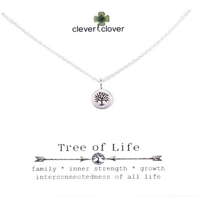 SSN1148 Sterling Silver Mini Round Tree of Life Necklace