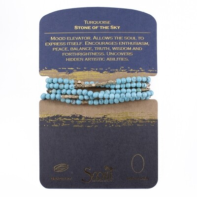 SW001 Stone Wrap Bracelet/Necklace - Turquoise/Gold