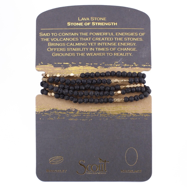 SW002 Stone Wrap Bracelet/Necklace - Lava Stone