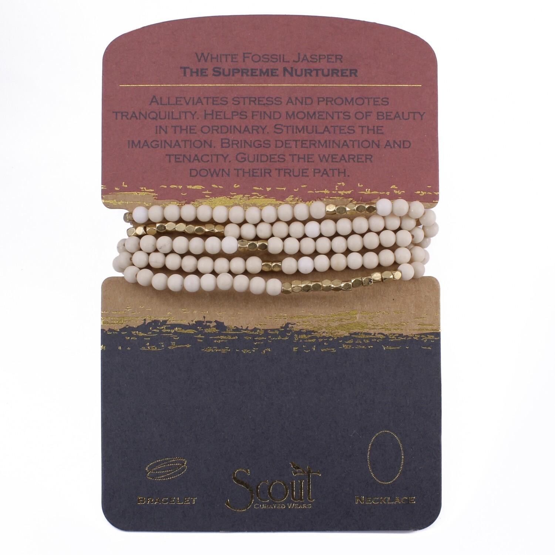 SW003 Stone Wrap Bracelet/Necklace - White Fossil Jasper