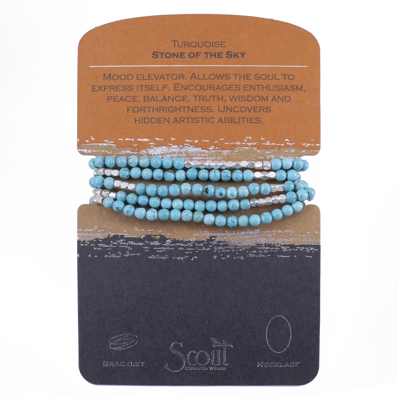 SW006 Stone Wrap Bracelet/Necklace - Turquoise/Silver