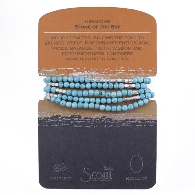 SW006 Stone Wrap Bracelet/Necklace - Turquoise/Silver