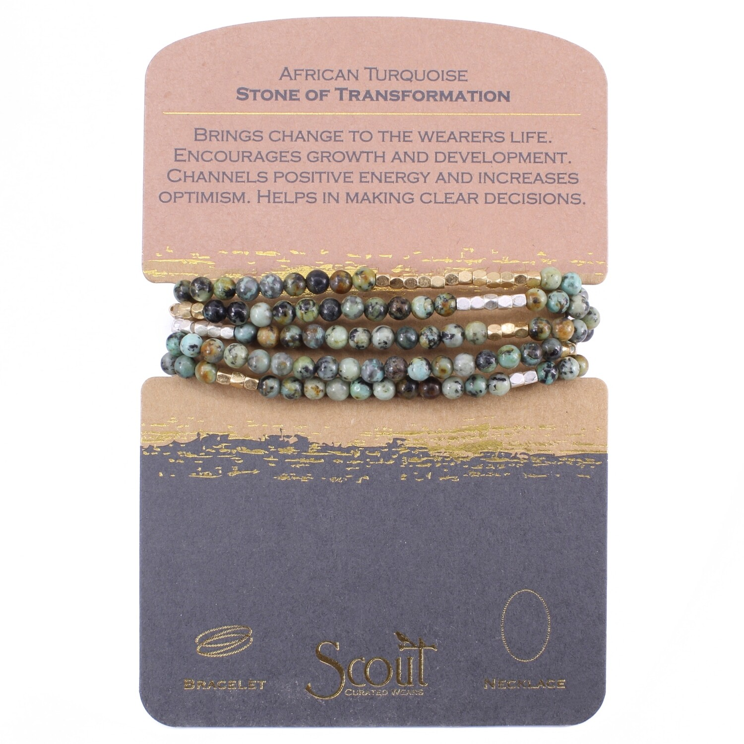 SW021 Stone Wrap Bracelet/Necklace - African Turquoise