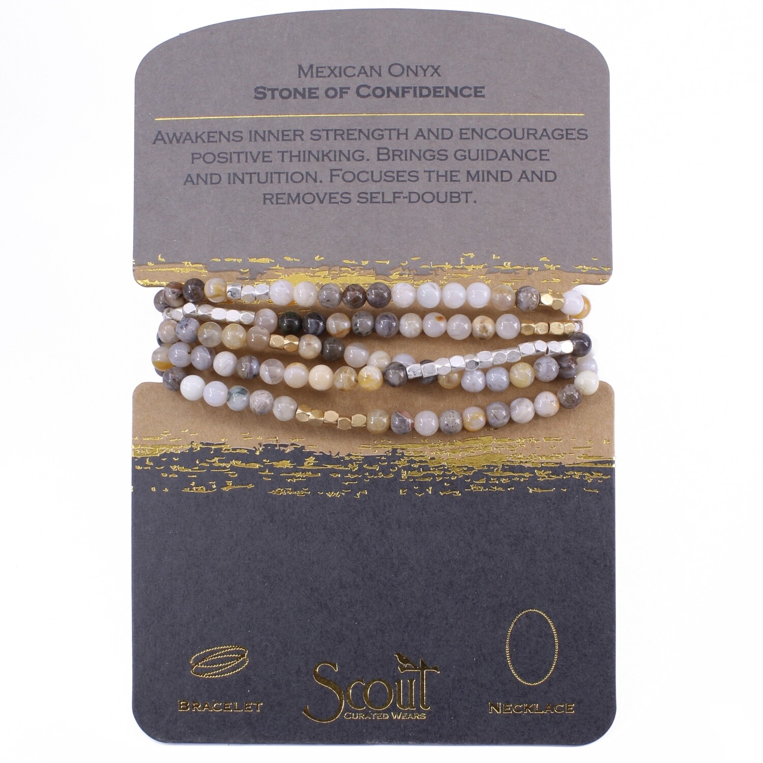 SW023 Stone Wrap Bracelet/Necklace - Mexican Onyx