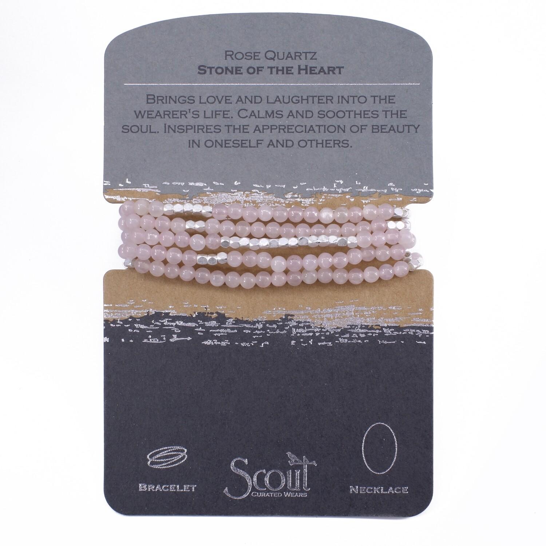 SW019 Stone Wrap Bracelet/Necklace - Rose Quartz