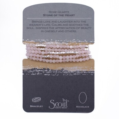 SW019 Stone Wrap Bracelet/Necklace - Rose Quartz