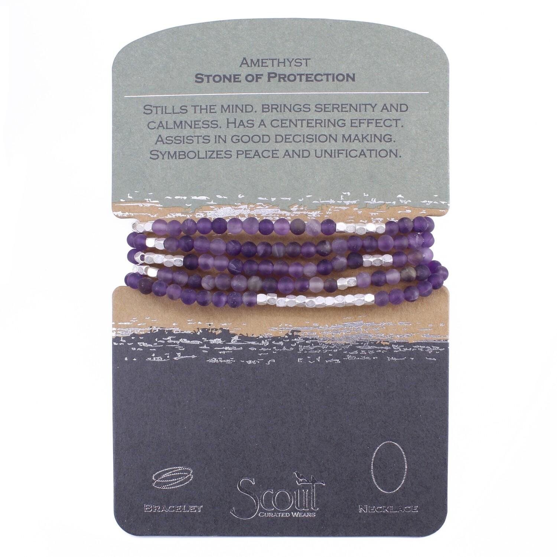 SW020 Stone Wrap Bracelet/Necklace - Amethyst