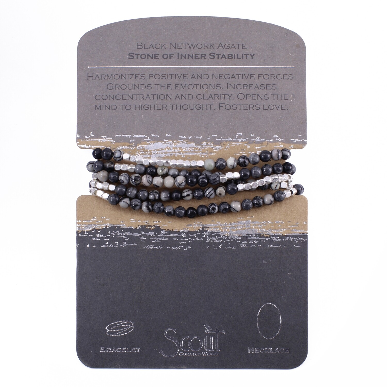 SW009 Stone Wrap Bracelet/Necklace - Black Network Agate
