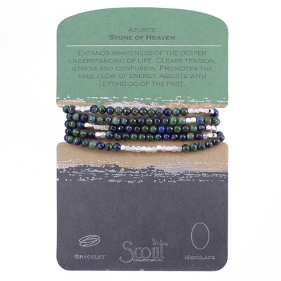 SW010 Stone Wrap Bracelet/Necklace - Azurite