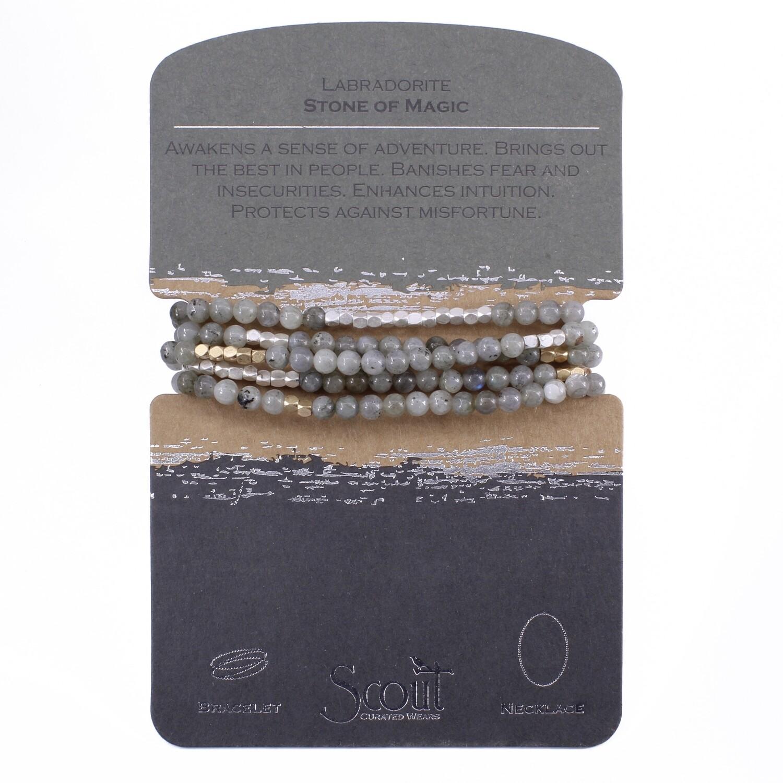 SW016 Stone Wrap Bracelet/Necklace - Labradorite