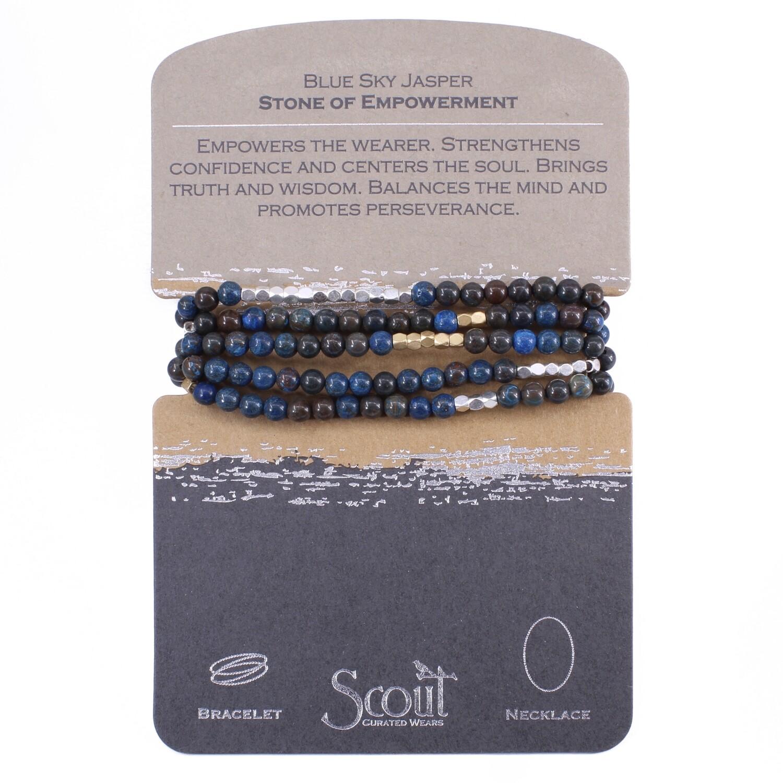 SW028 Stone Wrap Bracelet/Necklace - Blue Sky Jasper
