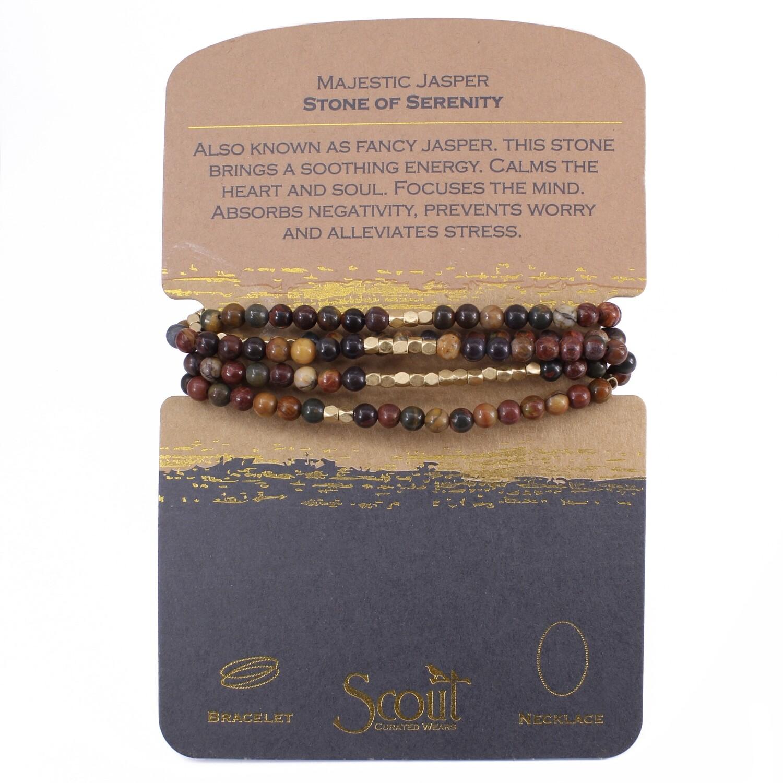 SW025 Stone Wrap Bracelet/Necklace - Majestic Jasper