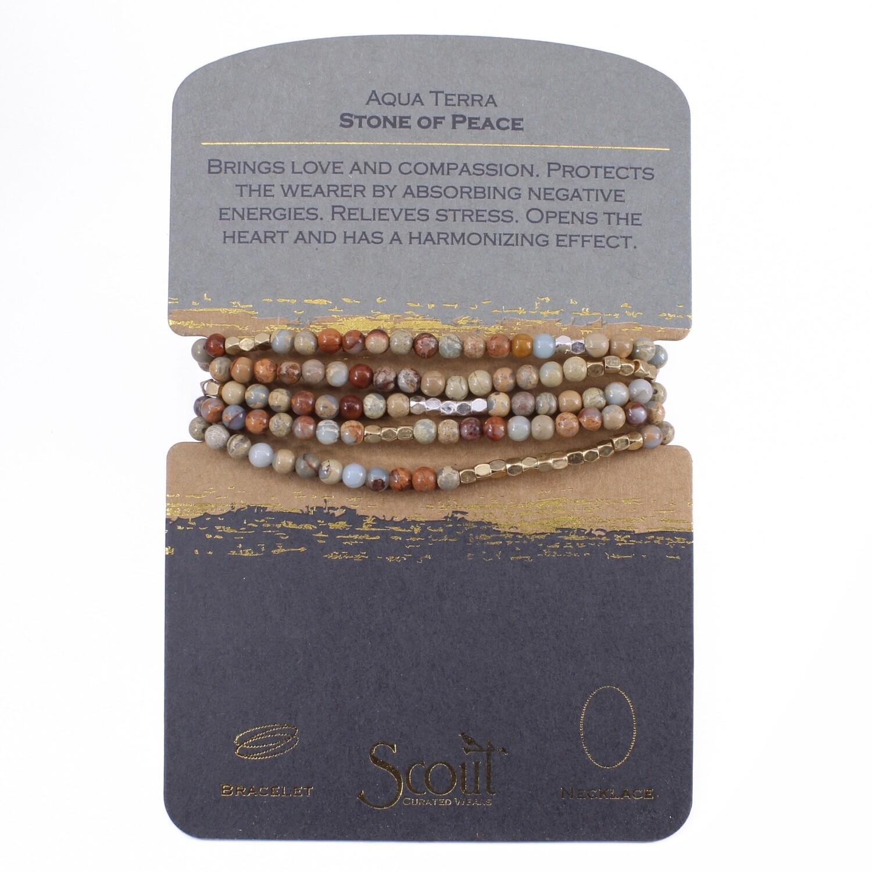 SW030 Stone Wrap Bracelet/Necklace - Aqua Terra Jasper