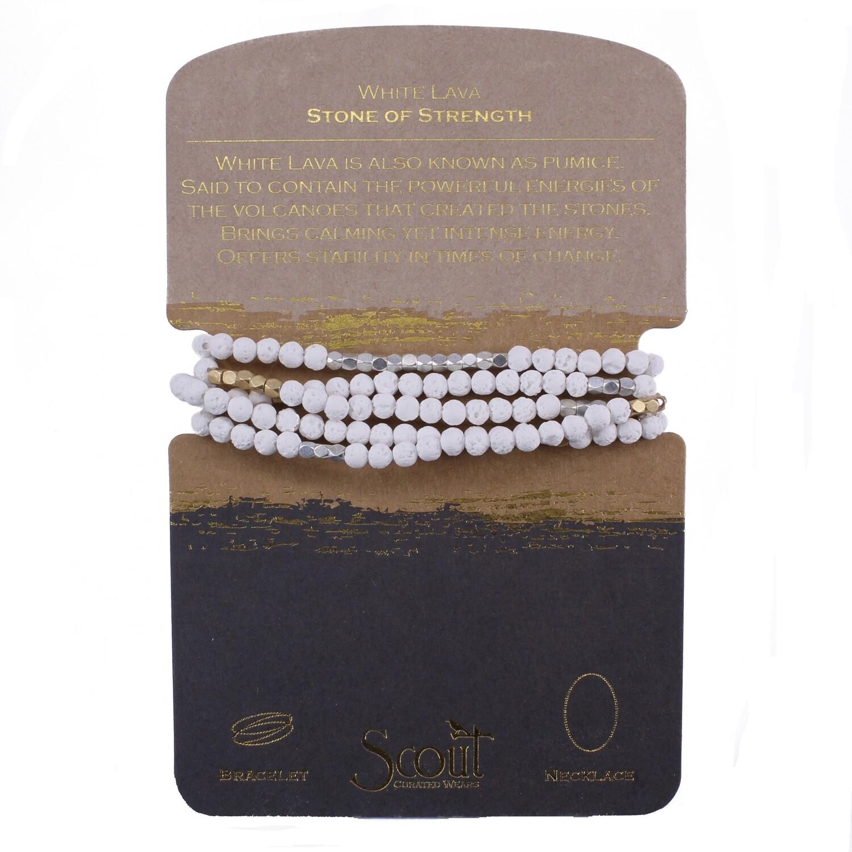 SW041 Stone Wrap Bracelet/Necklace - White Lava Stone