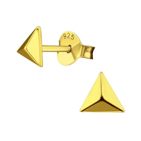 P40-42 Raised 3D Triangle Posts - Gold Plated Sterling Silver