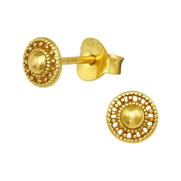 P42-13 Dotted Circle Posts - Gold Plated Sterling Silver