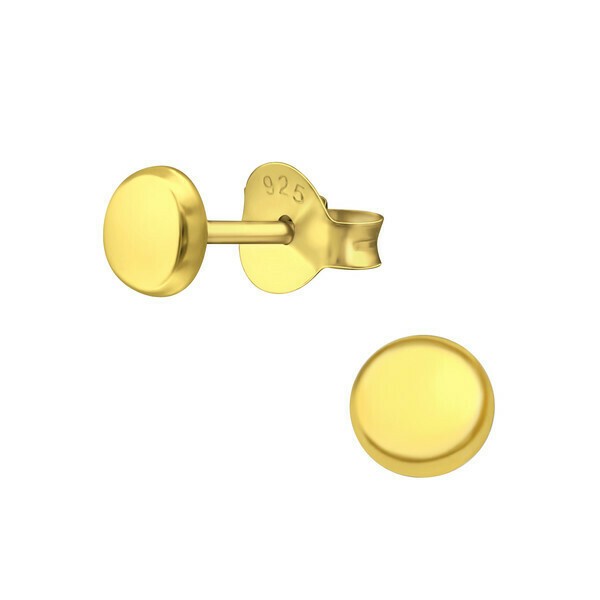 P40-55 Raised 4mm Circles - Gold Plated Sterling Silver