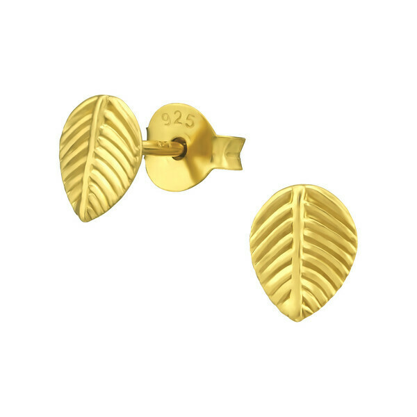 P40-19 Leaf Posts - Gold Plated Sterling Silver