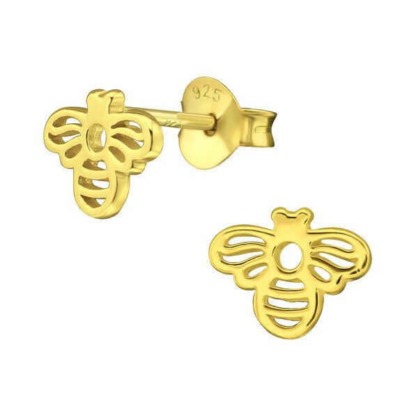 P40-82 Open Bee Posts - Gold Plated Sterling Silver