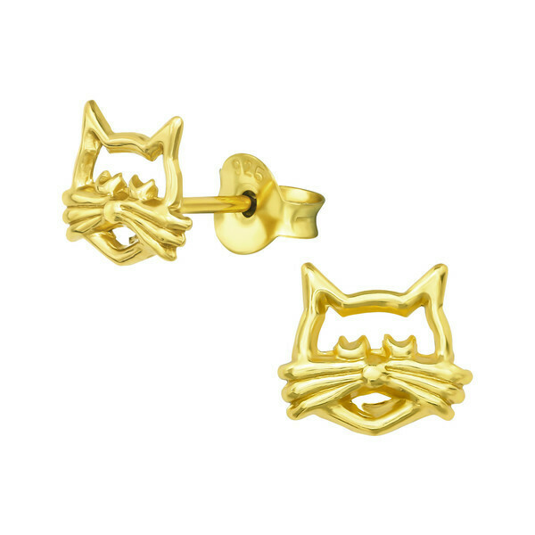 P42-5 Cat Outline Posts - Gold Plated Sterling Silver