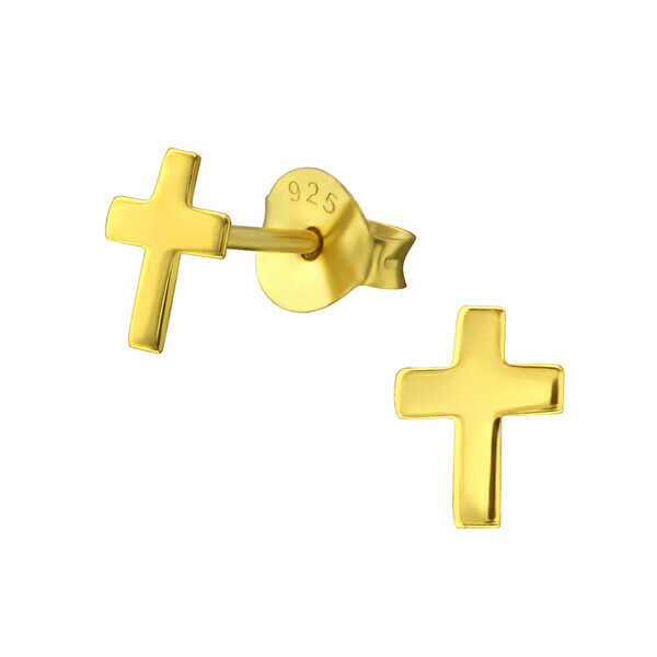 P40-18 Cross Posts - Gold Plated Sterling Silver
