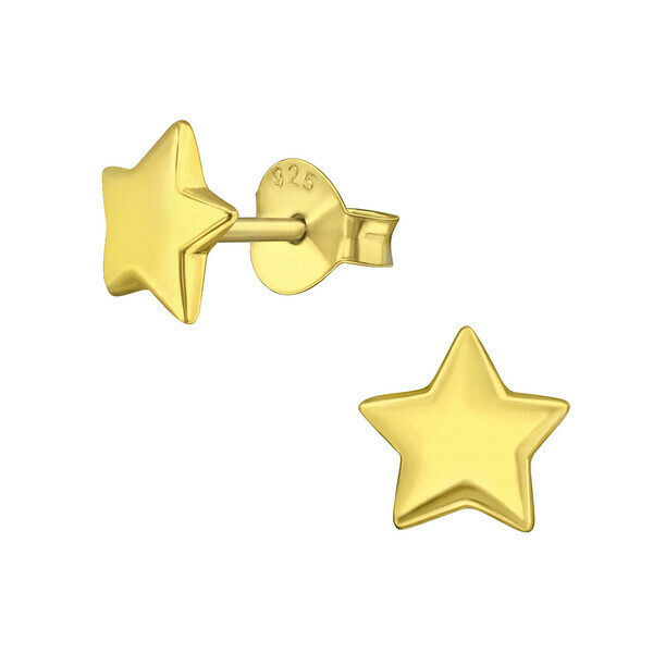 P42-12 Puffed Star Posts - Gold Plated Sterling Silver