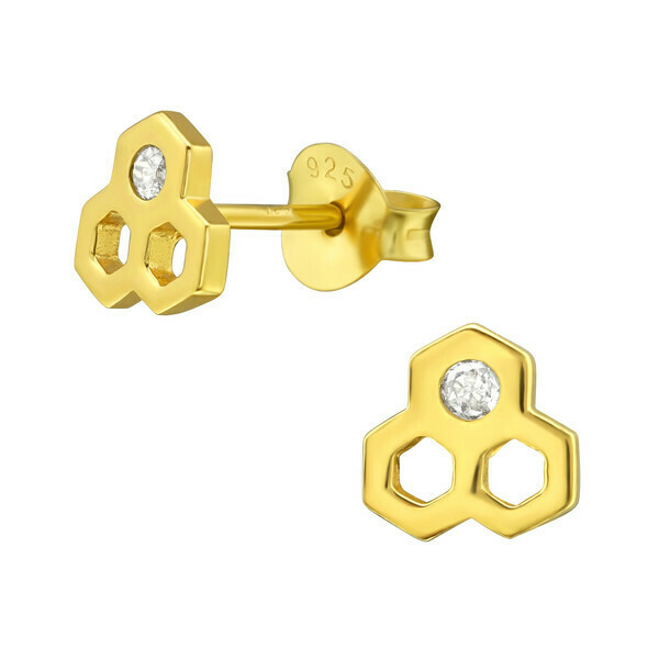 P40-83 Honeycomb + CZ Posts - Gold Plated Sterling Silver