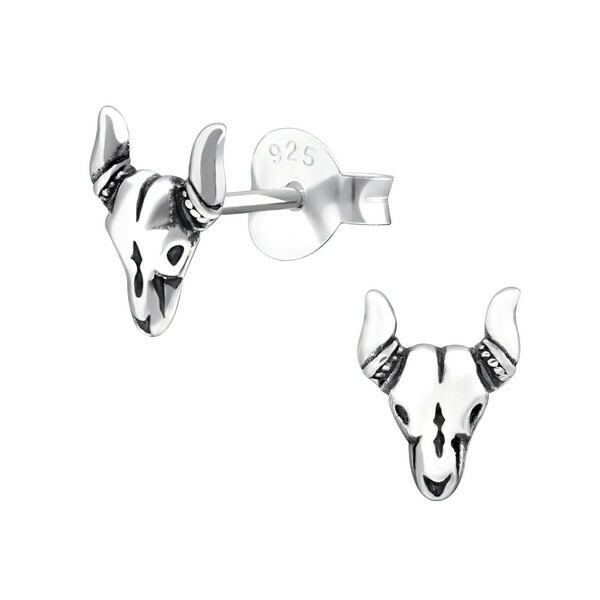 P29-18 Sterling Silver Cattle Skull Posts
