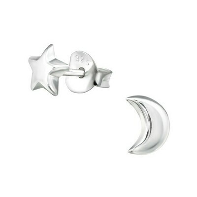 P29-4 Sterling Silver Moon + Star Mismatched Posts