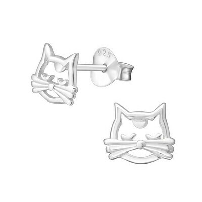 P37-29 Sterling Silver Cat Outline Posts