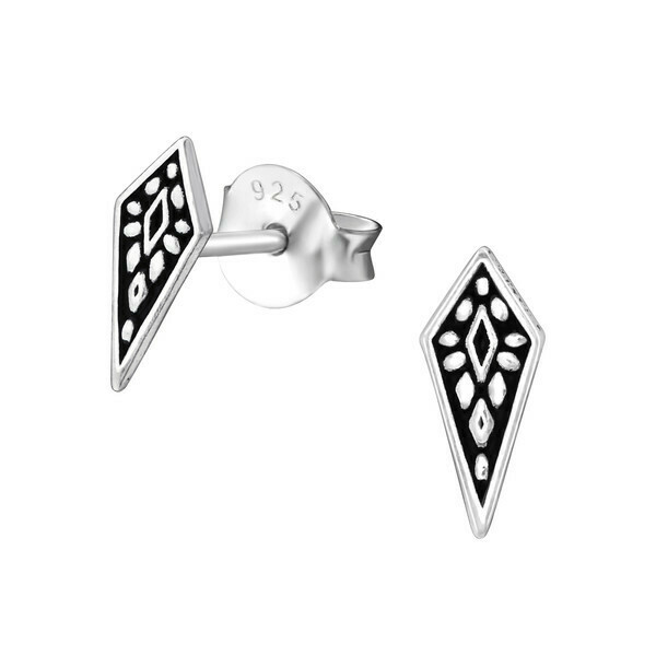 P38-13 Sterling Silver Oxidized Kite Shaped Posts