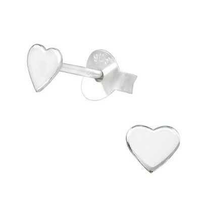 P38-38 Sterling Silver Flat Heart Posts
