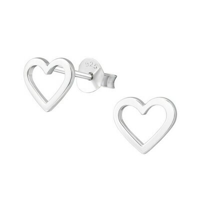 P39-9 Sterling Silver Open Heart Posts