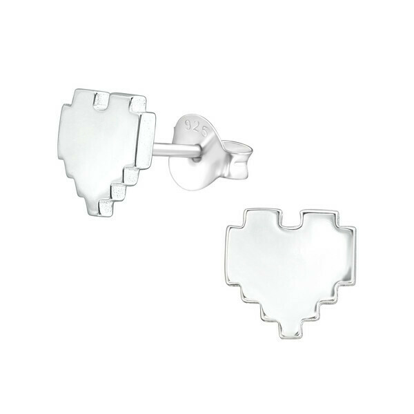 P39-45 Sterling Silver Pixelated Heart Posts