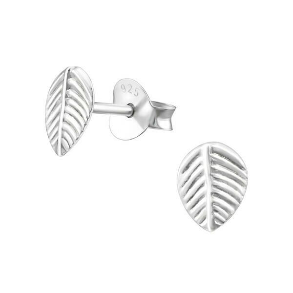 P27-13 Sterling Silver Leaf Posts