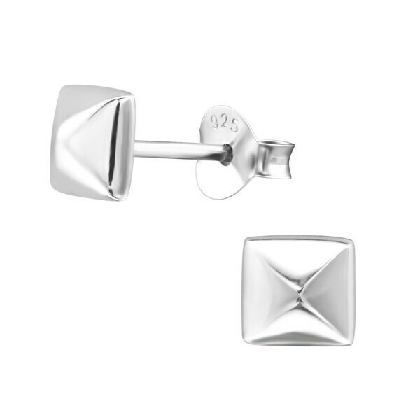 P27-42 Sterling Silver Medium 3D Square Posts