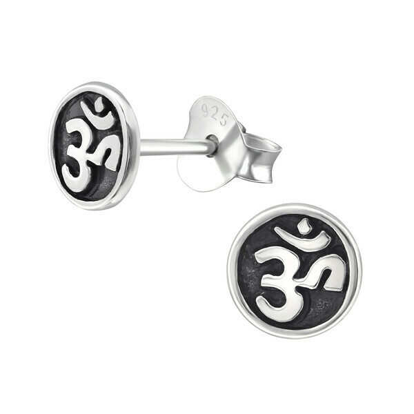 P28-3 Sterling Silver Antiqued Om Posts