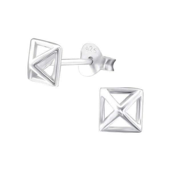 P28-9 Sterling Silver Open Pyramid Posts