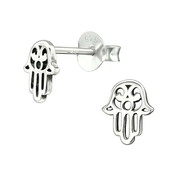 P28-2 Sterling Silver Open Hamsa Posts